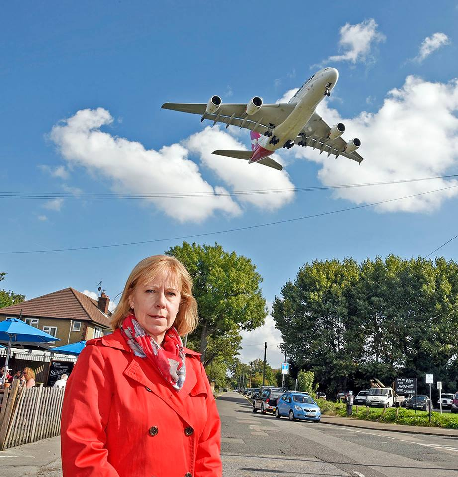 Ruth in the constituency with plane flying overhead